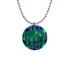 Green and blue bird Button Necklaces
