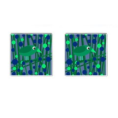 Green and blue bird Cufflinks (Square)
