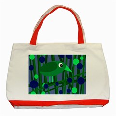Green and blue bird Classic Tote Bag (Red)