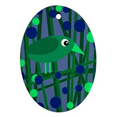 Green and blue bird Oval Ornament (Two Sides)