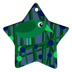Green and blue bird Star Ornament (Two Sides)