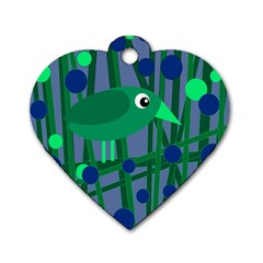 Green and blue bird Dog Tag Heart (Two Sides)