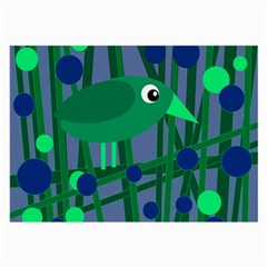 Green and blue bird Large Glasses Cloth (2-Side)