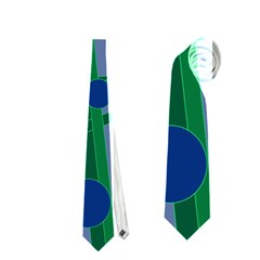 Green and blue bird Neckties (One Side)