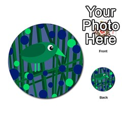 Green and blue bird Multi-purpose Cards (Round)