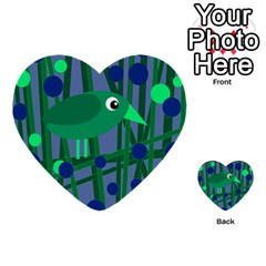 Green and blue bird Multi-purpose Cards (Heart)