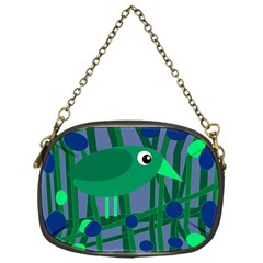 Green and blue bird Chain Purses (One Side)
