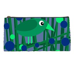 Green and blue bird Pencil Cases