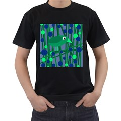 Green and blue bird Men s T-Shirt (Black)