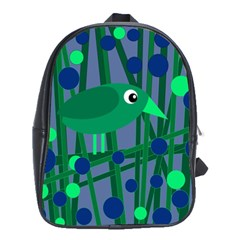 Green and blue bird School Bags(Large)