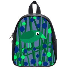 Green and blue bird School Bags (Small)