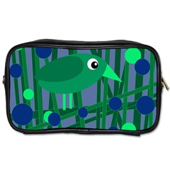 Green and blue bird Toiletries Bags 2-Side