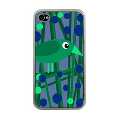 Green and blue bird Apple iPhone 4 Case (Clear)
