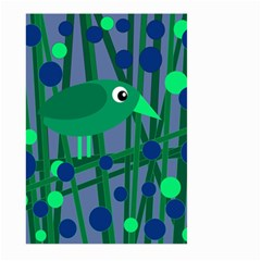 Green and blue bird Large Garden Flag (Two Sides)