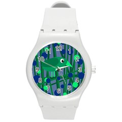Green and blue bird Round Plastic Sport Watch (M)