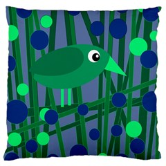 Green and blue bird Large Cushion Case (One Side)