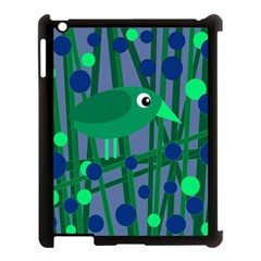 Green and blue bird Apple iPad 3/4 Case (Black)