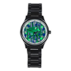 Green and blue bird Stainless Steel Round Watch