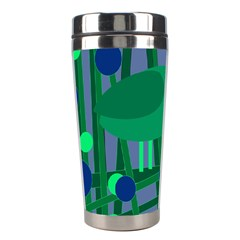 Green and blue bird Stainless Steel Travel Tumblers
