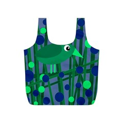 Green and blue bird Full Print Recycle Bags (S)