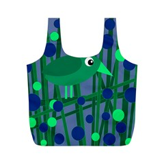 Green And Blue Bird Full Print Recycle Bags (m)