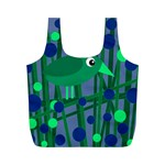 Green and blue bird Full Print Recycle Bags (M)  Front