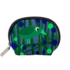 Green and blue bird Accessory Pouches (Small)