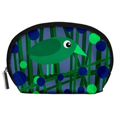Green and blue bird Accessory Pouches (Large)