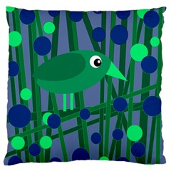 Green and blue bird Large Flano Cushion Case (Two Sides)