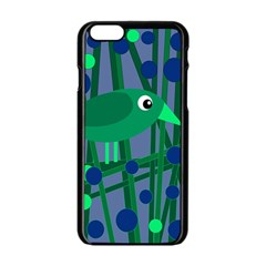 Green and blue bird Apple iPhone 6/6S Black Enamel Case