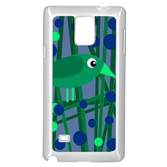Green and blue bird Samsung Galaxy Note 4 Case (White)