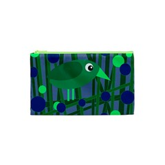 Green and blue bird Cosmetic Bag (XS)