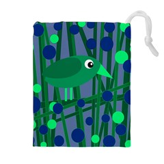 Green And Blue Bird Drawstring Pouches (extra Large)
