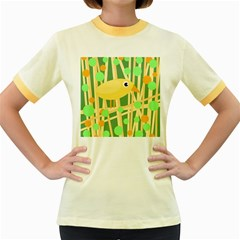 Yellow little bird Women s Fitted Ringer T-Shirts