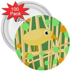 Yellow little bird 3  Buttons (100 pack)