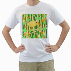 Yellow little bird Men s T-Shirt (White) (Two Sided)