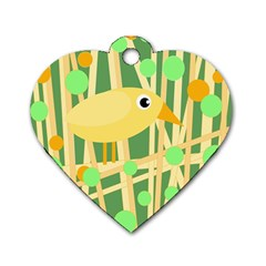 Yellow little bird Dog Tag Heart (Two Sides)