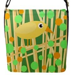 Yellow little bird Flap Messenger Bag (S)