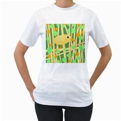 Yellow little bird Women s T-Shirt (White)