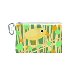 Yellow little bird Canvas Cosmetic Bag (S)