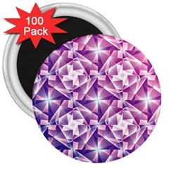 Purple Shatter Geometric Pattern 3  Magnets (100 Pack)