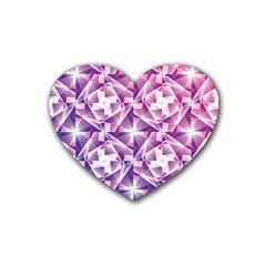 Purple Shatter Geometric Pattern Rubber Coaster (Heart)