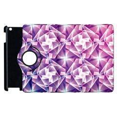 Purple Shatter Geometric Pattern Apple iPad 3/4 Flip 360 Case