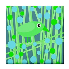 Green bird Tile Coasters