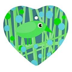 Green bird Ornament (Heart)