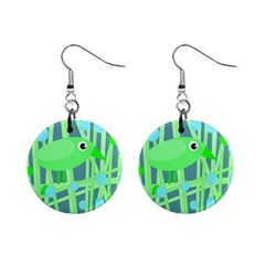 Green bird Mini Button Earrings