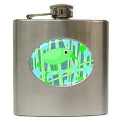 Green bird Hip Flask (6 oz)