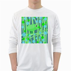 Green bird White Long Sleeve T-Shirts