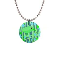 Green bird Button Necklaces