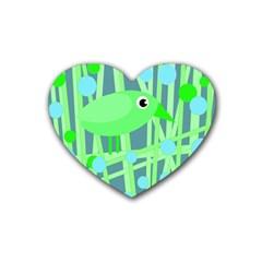 Green bird Heart Coaster (4 pack)